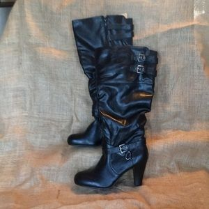 Guess Black knee-high boots size 8 1/2.